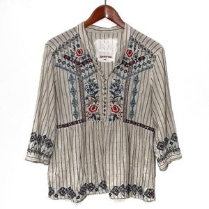 3J Workshop Johnny Was Embroidered Cotton Blouse M